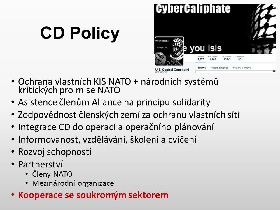 CD Policy Ochrana vlastních KIS NATO + národních systémů kritických pro mise NATO. Asistence členům Aliance na principu solidarity.
