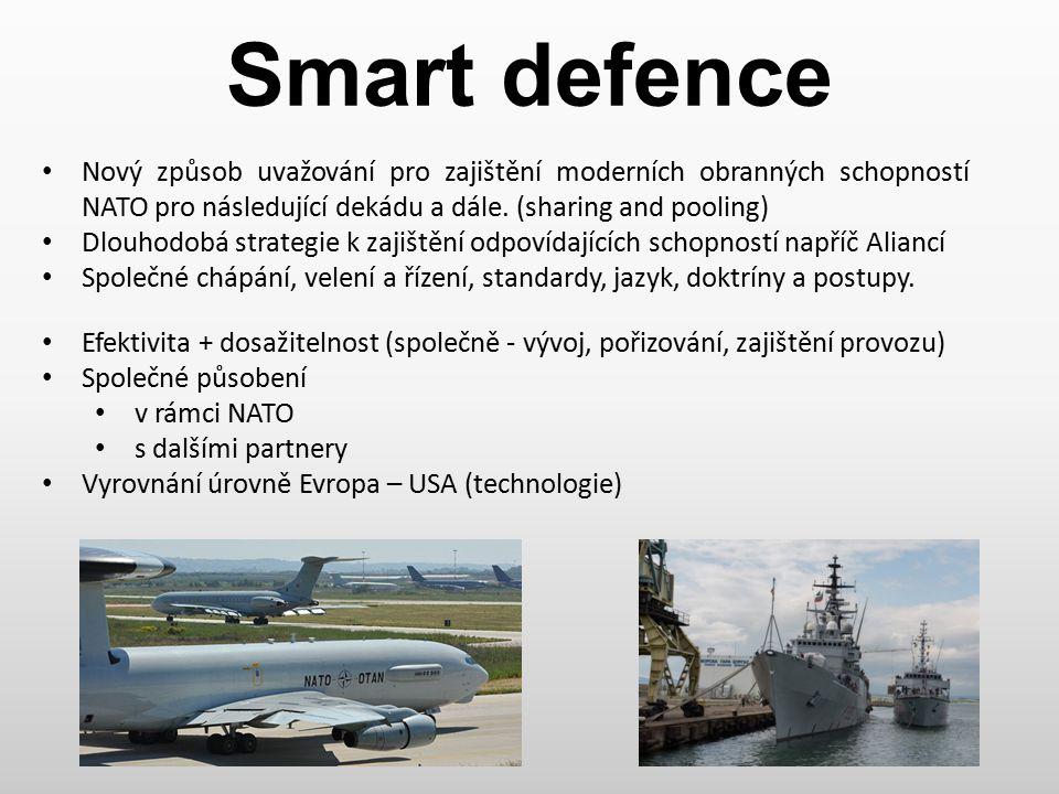 Smart defence Nový způsob uvažování pro zajištění moderních obranných schopností NATO pro následující dekádu a dále. (sharing and pooling)