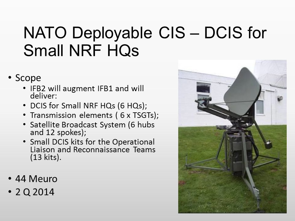 NATO Deployable CIS – DCIS for Small NRF HQs