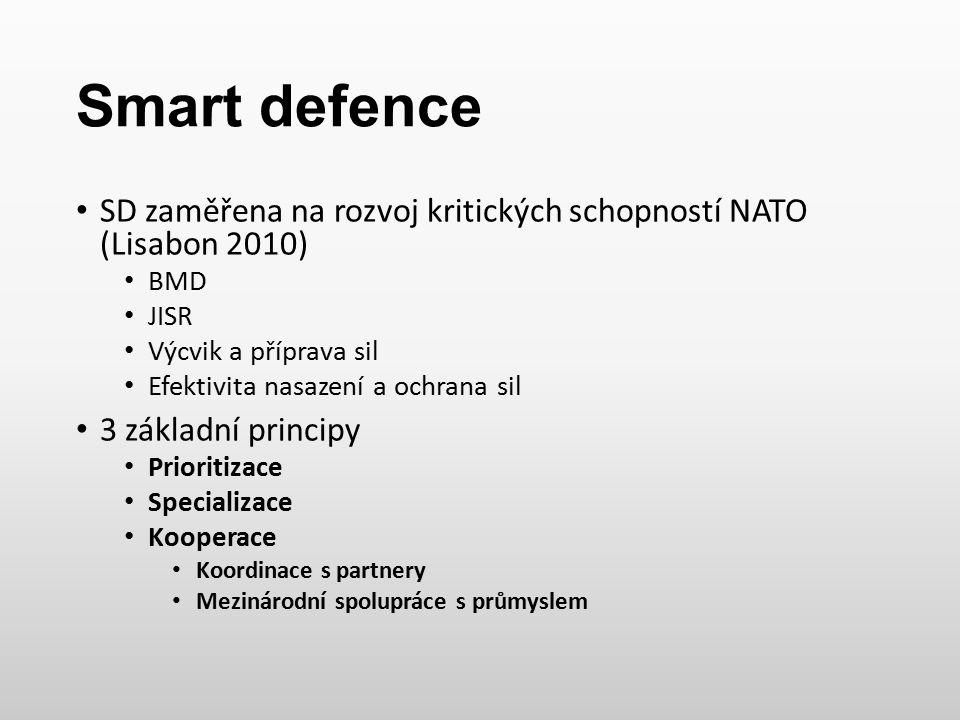 Smart defence SD zaměřena na rozvoj kritických schopností NATO (Lisabon 2010) BMD. JISR. Výcvik a příprava sil.