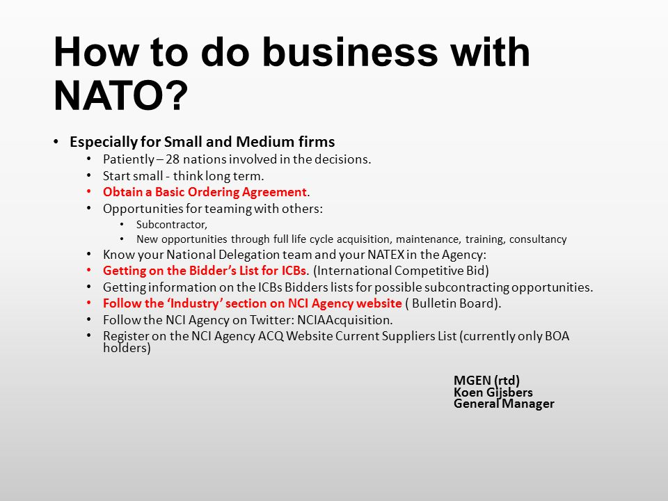 How to do business with NATO