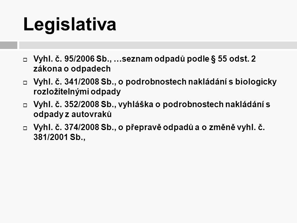 Legislativa Vyhl. č. 95/2006 Sb., …seznam odpadů podle § 55 odst. 2 zákona o odpadech.