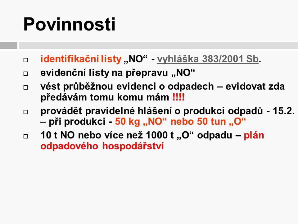 """Povinnosti identifikační listy """"NO - vyhláška 383/2001 Sb."""