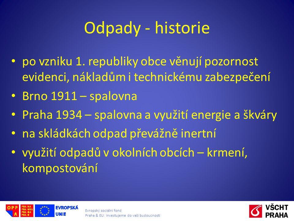 Odpady - historie po vzniku 1. republiky obce věnují pozornost evidenci, nákladům i technickému zabezpečení.