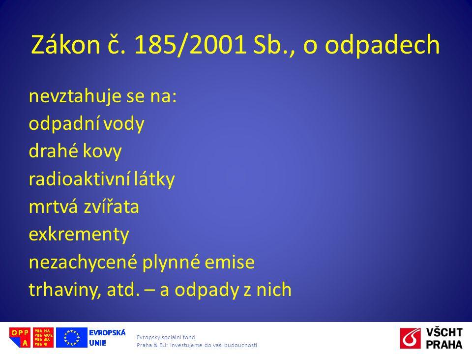 Zákon č. 185/2001 Sb., o odpadech