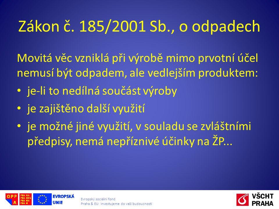 Zákon č. 185/2001 Sb., o odpadech Movitá věc vzniklá při výrobě mimo prvotní účel nemusí být odpadem, ale vedlejším produktem: