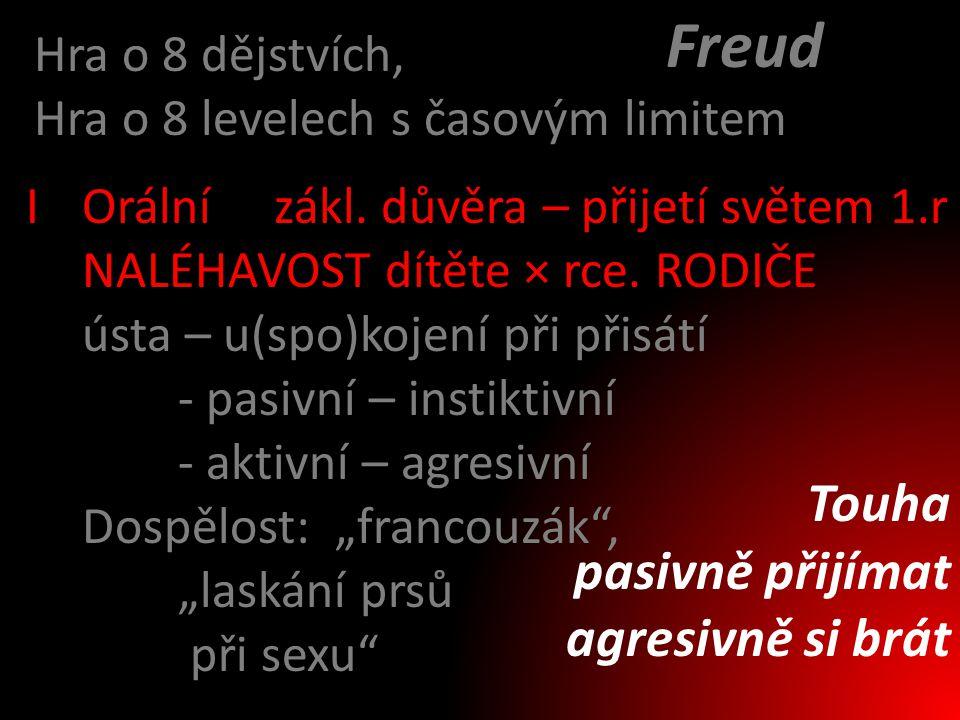 Freud Touha pasivně přijímat agresivně si brát Hra o 8 dějstvích,