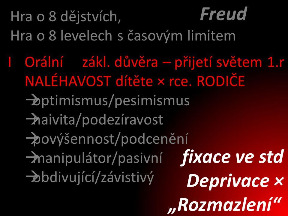 """Freud fixace ve std Deprivace × """"Rozmazlení Hra o 8 dějstvích,"""