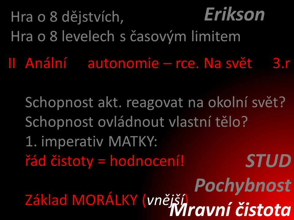 Erikson STUD Pochybnost Mravní čistota Hra o 8 dějstvích,
