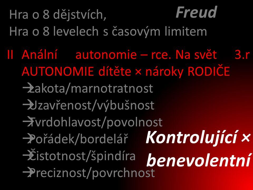 Kontrolující × benevolentní Freud Hra o 8 dějstvích,