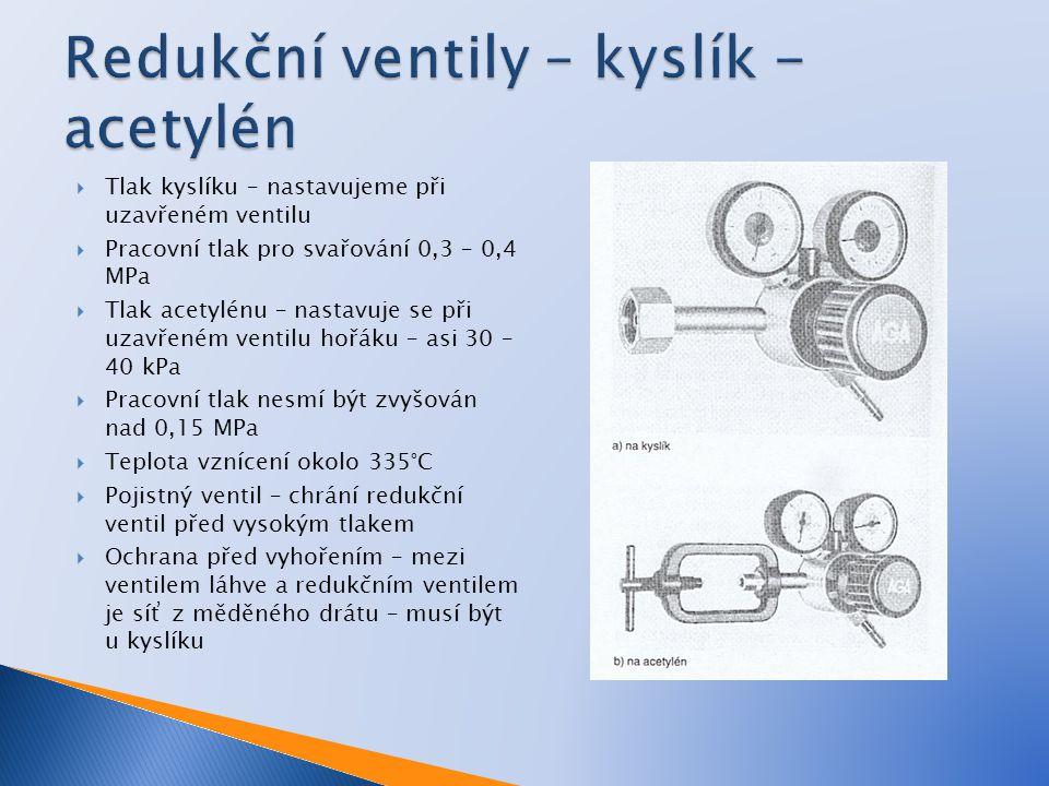 Redukční ventily – kyslík - acetylén