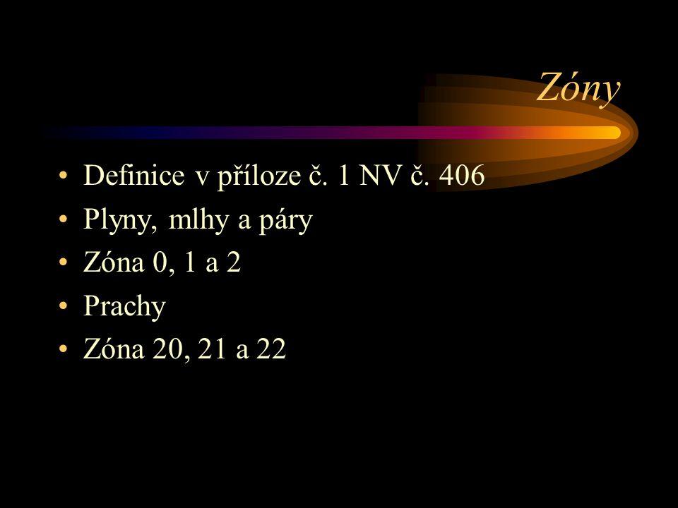 Zóny Definice v příloze č. 1 NV č. 406 Plyny, mlhy a páry