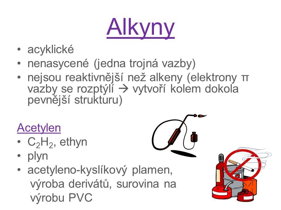 Alkyny acyklické nenasycené (jedna trojná vazby)