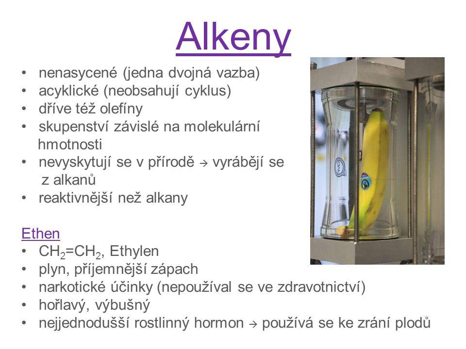 Alkeny nenasycené (jedna dvojná vazba) acyklické (neobsahují cyklus)