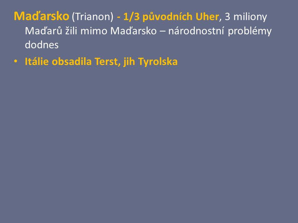 Maďarsko (Trianon) - 1/3 původních Uher, 3 miliony Maďarů žili mimo Maďarsko – národnostní problémy dodnes