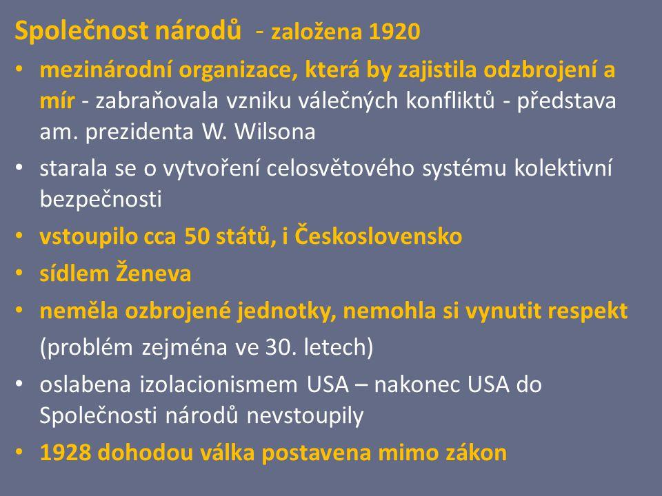 Společnost národů - založena 1920