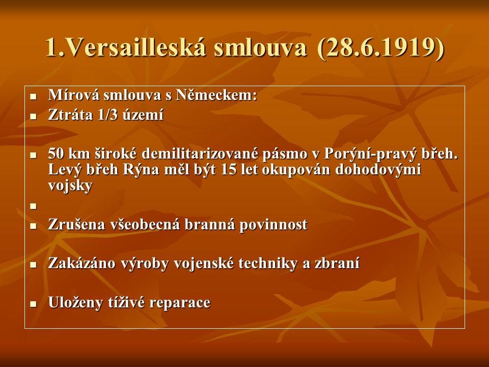 1.Versailleská smlouva (28.6.1919)
