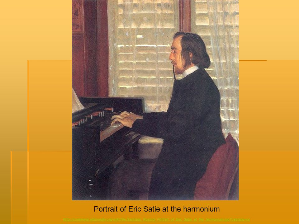Portrait of Eric Satie at the harmonium