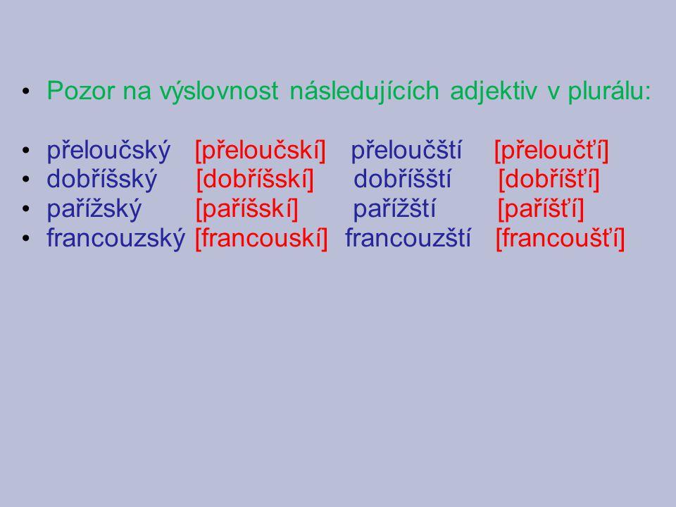 Pozor na výslovnost následujících adjektiv v plurálu: