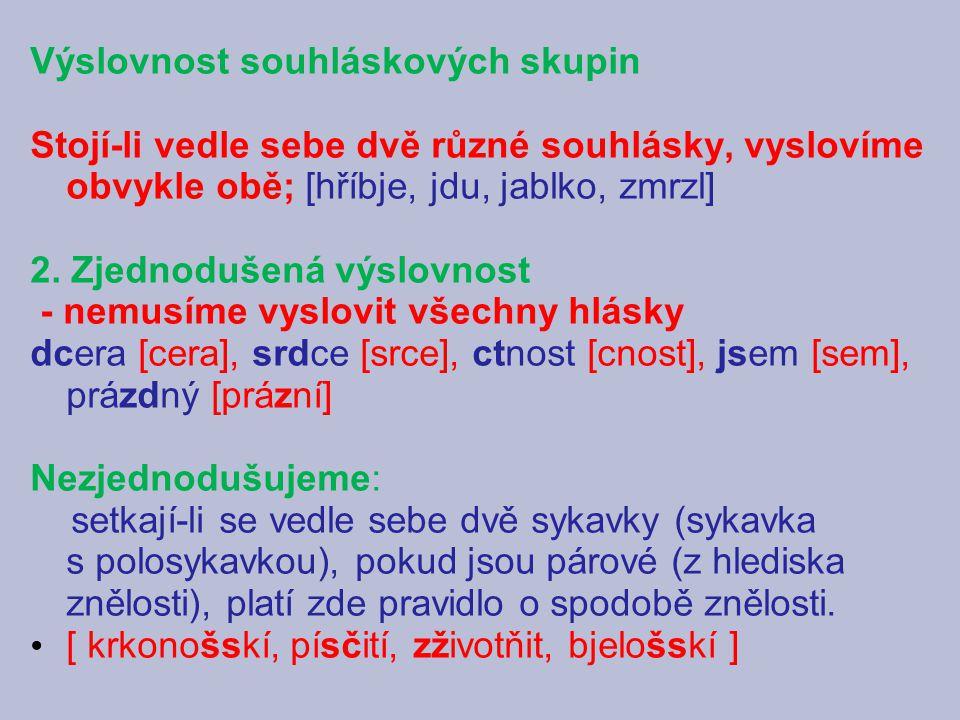 Výslovnost souhláskových skupin