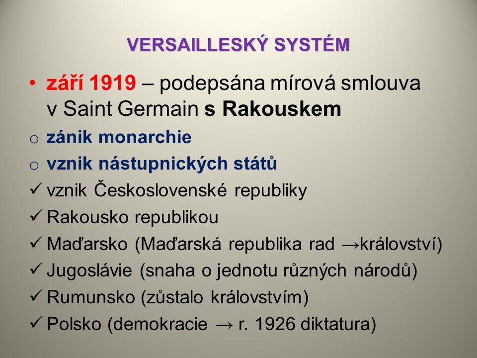 září 1919 – podepsána mírová smlouva v Saint Germain s Rakouskem