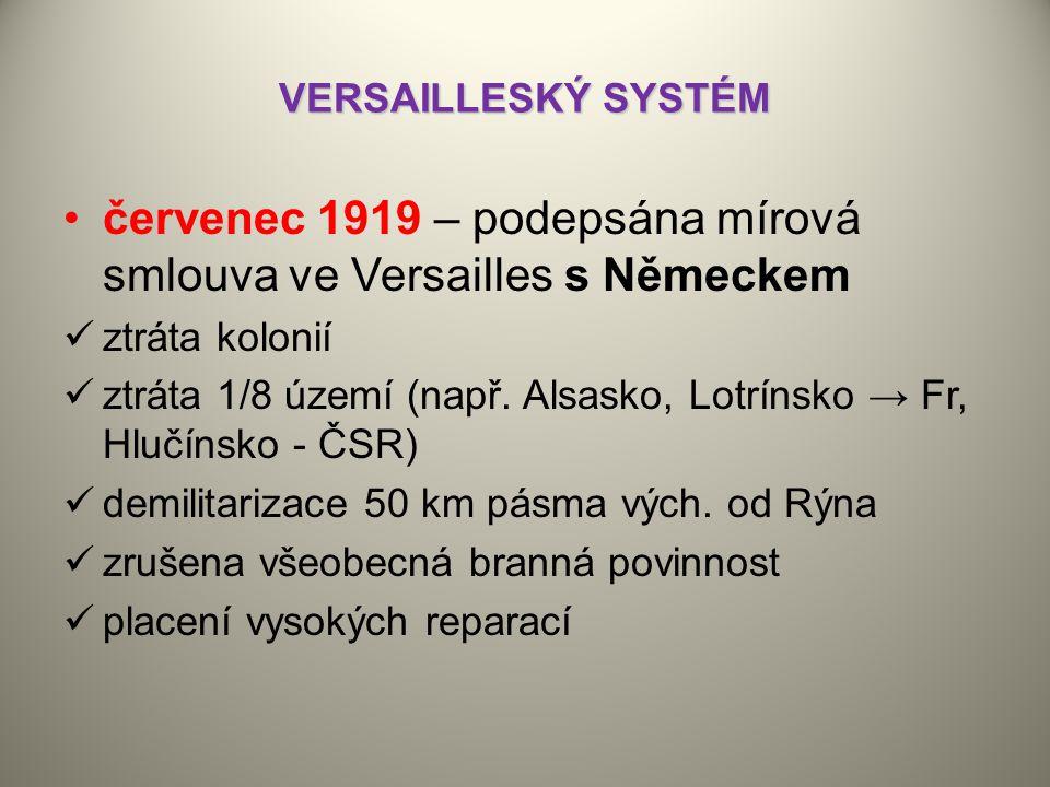 červenec 1919 – podepsána mírová smlouva ve Versailles s Německem