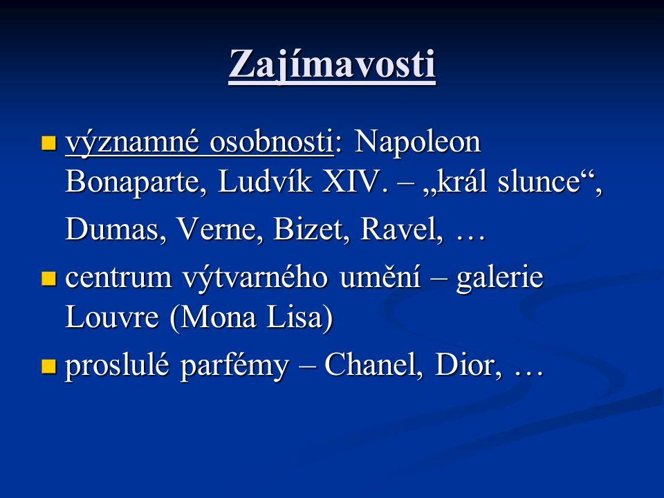 """Zajímavosti významné osobnosti: Napoleon Bonaparte, Ludvík XIV. – """"král slunce , Dumas, Verne, Bizet, Ravel, …"""