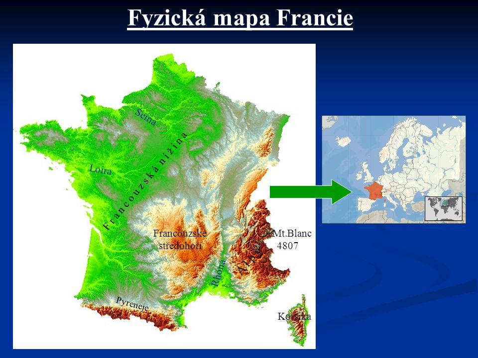 Fyzická mapa Francie A l p y Seina Loira
