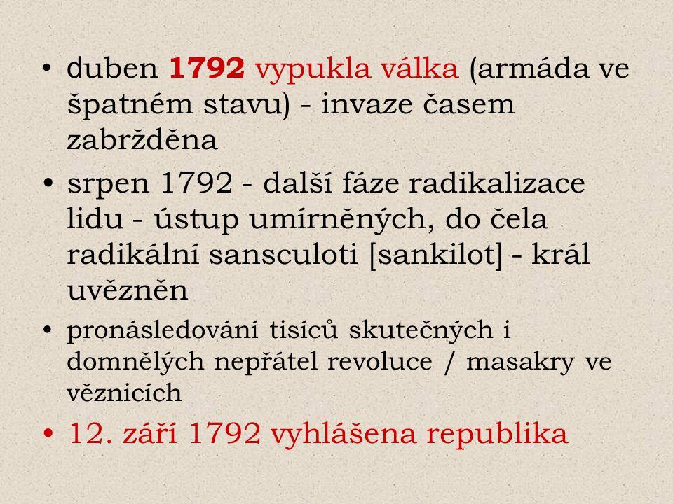 12. září 1792 vyhlášena republika