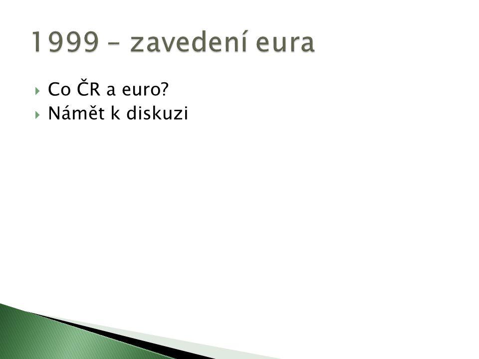 1999 – zavedení eura Co ČR a euro Námět k diskuzi