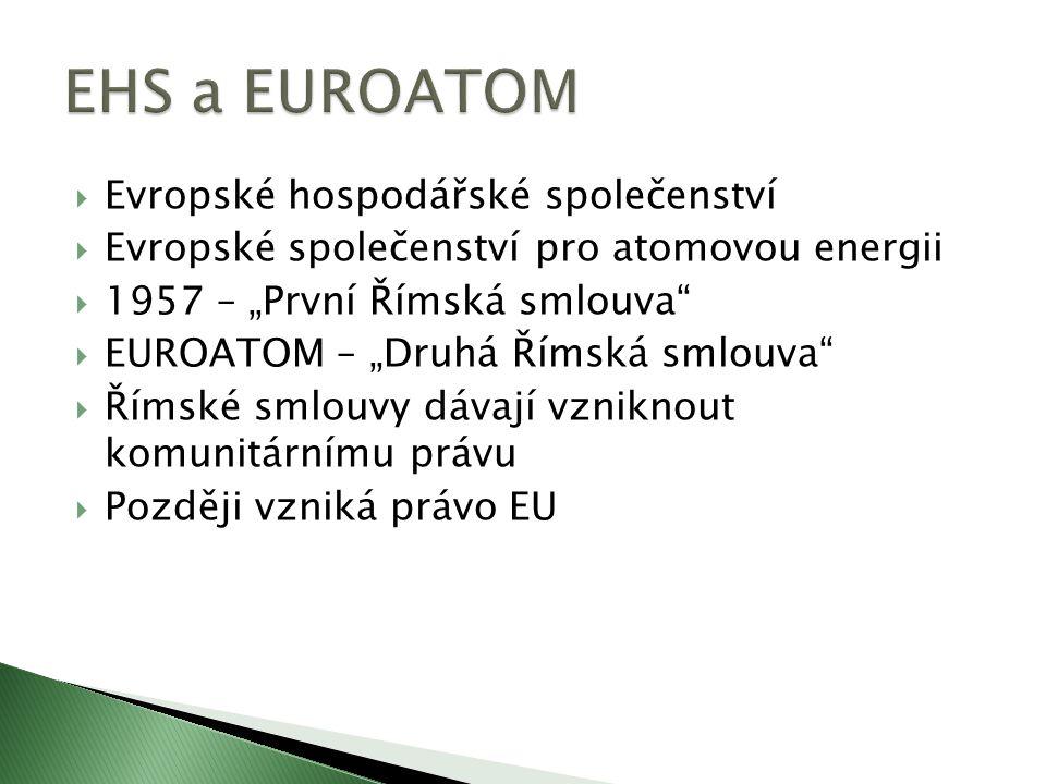 EHS a EUROATOM Evropské hospodářské společenství