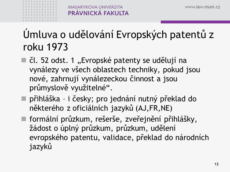 Úmluva o udělování Evropských patentů z roku 1973