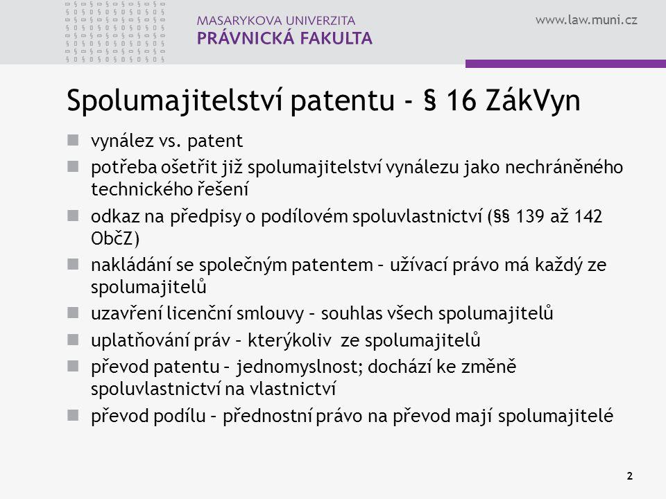 Spolumajitelství patentu - § 16 ZákVyn