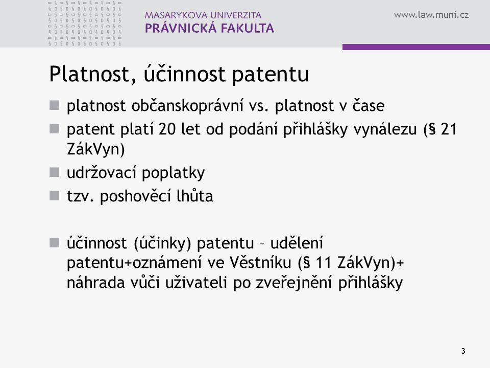 Platnost, účinnost patentu