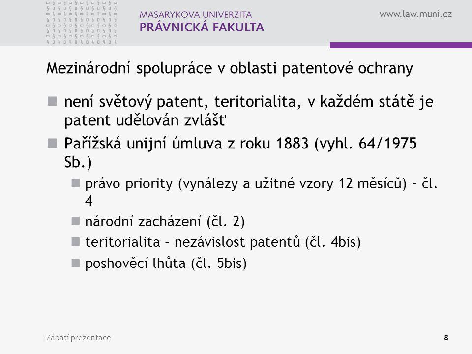 Mezinárodní spolupráce v oblasti patentové ochrany