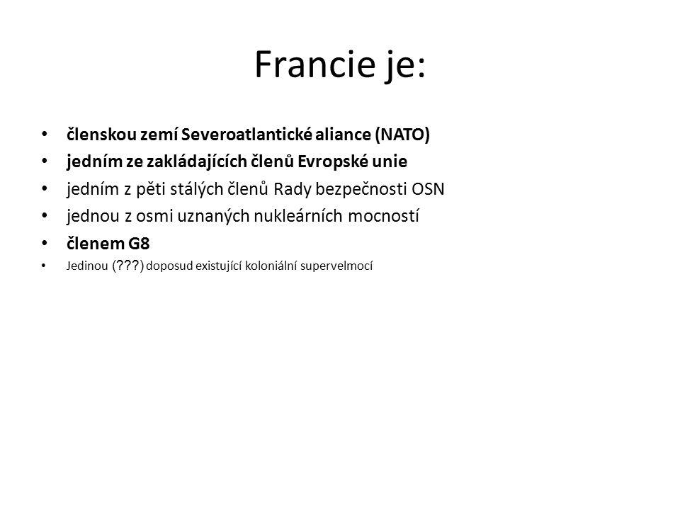Francie je: členskou zemí Severoatlantické aliance (NATO)
