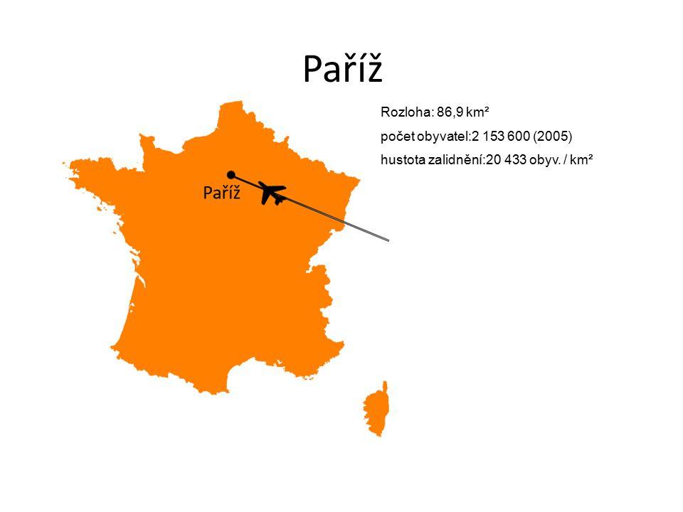 Paříž Rozloha: 86,9 km² počet obyvatel:2 153 600 (2005)