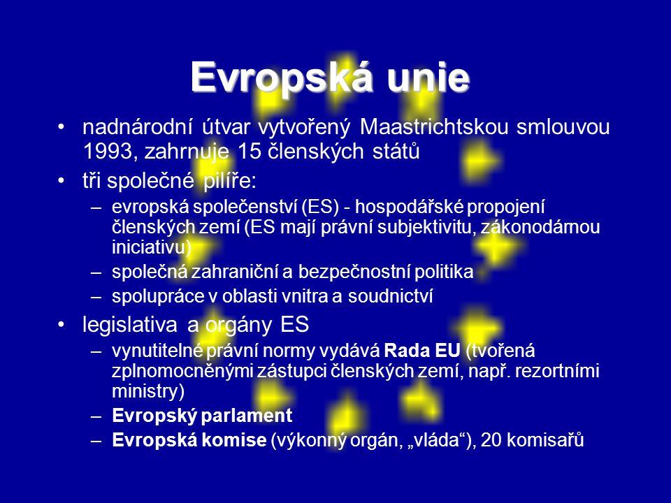 Evropská unie nadnárodní útvar vytvořený Maastrichtskou smlouvou 1993, zahrnuje 15 členských států.
