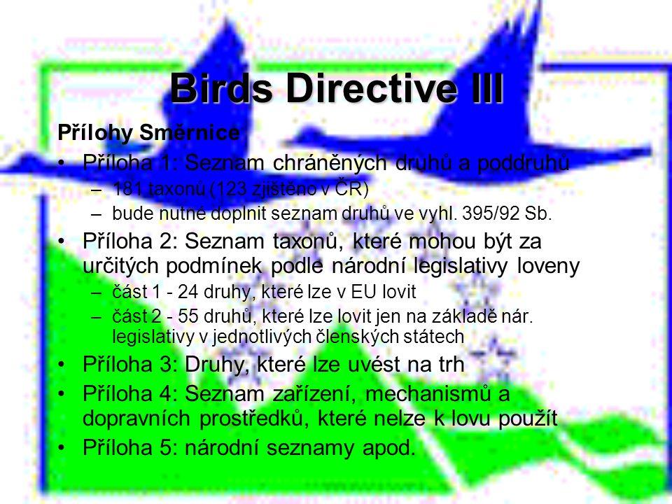 Birds Directive III Přílohy Směrnice