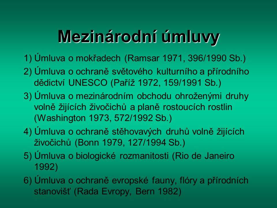 Mezinárodní úmluvy 1) Úmluva o mokřadech (Ramsar 1971, 396/1990 Sb.)