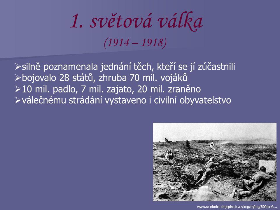 světová válka (1914 – 1918) silně poznamenala jednání těch, kteří se jí zúčastnili. bojovalo 28 států, zhruba 70 mil. vojáků.