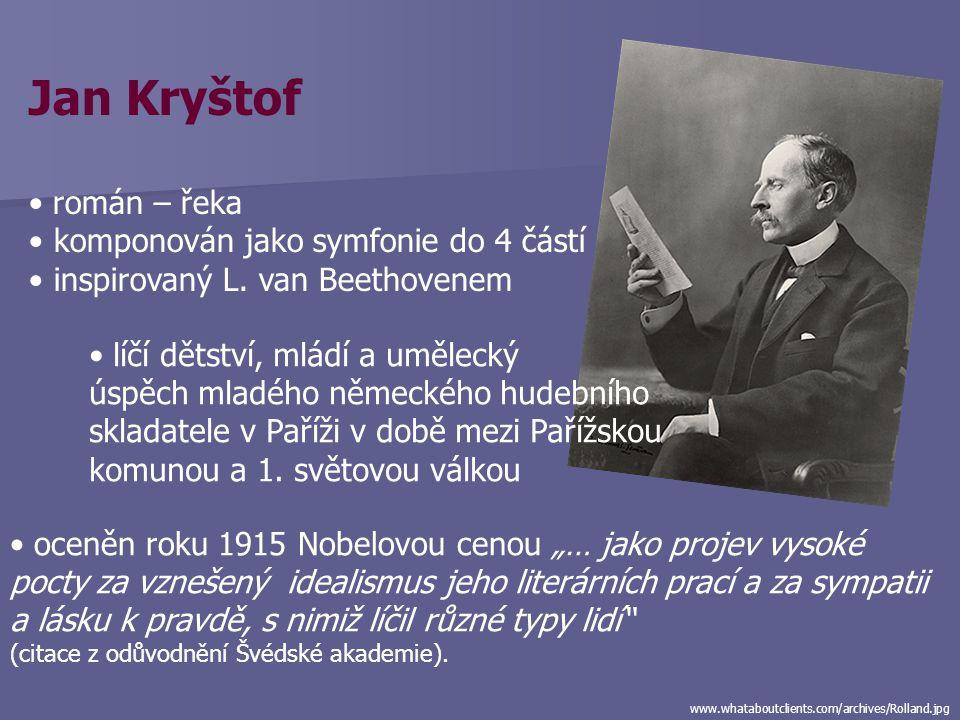 Jan Kryštof román – řeka komponován jako symfonie do 4 částí