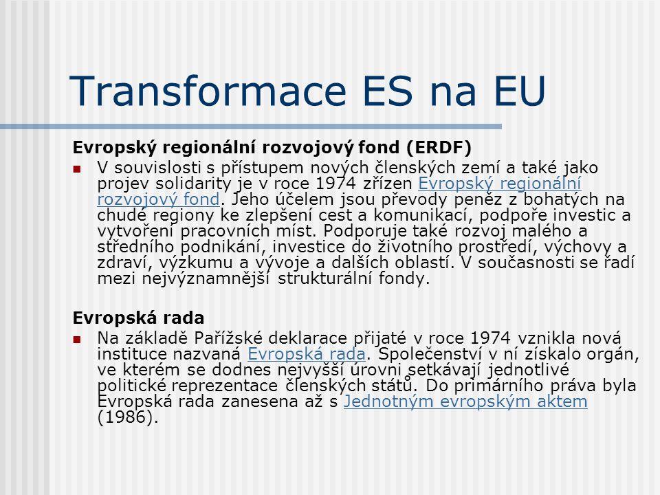 Transformace ES na EU Evropský regionální rozvojový fond (ERDF)