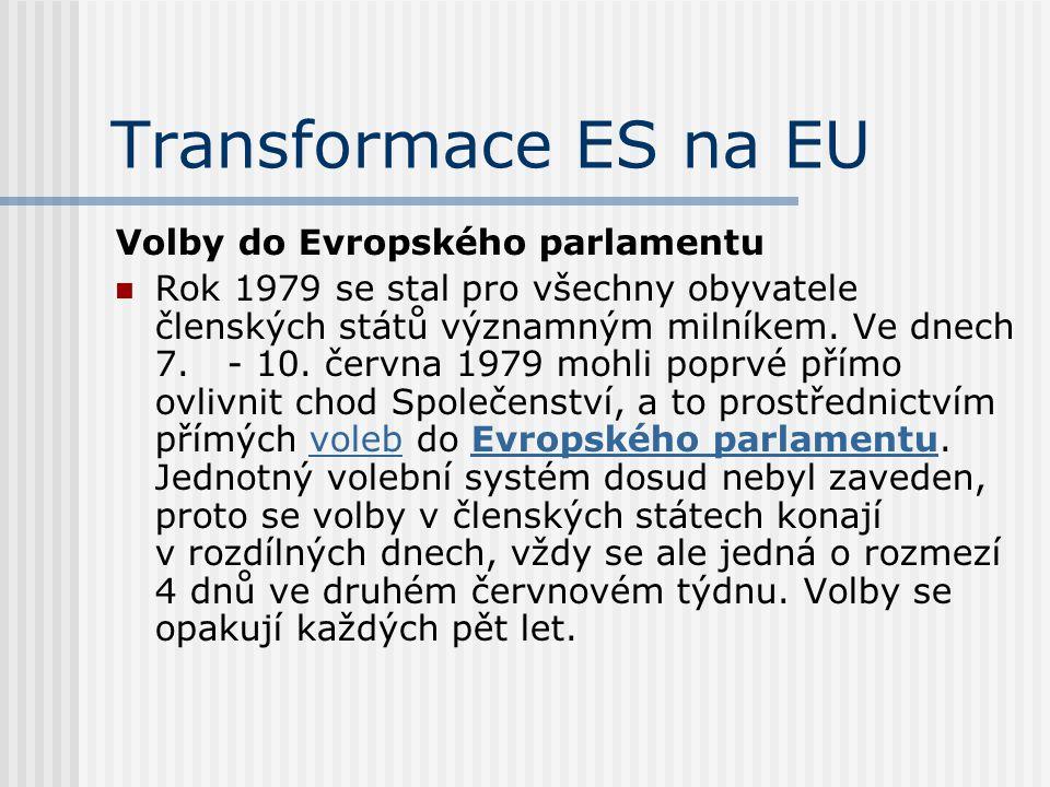 Transformace ES na EU Volby do Evropského parlamentu