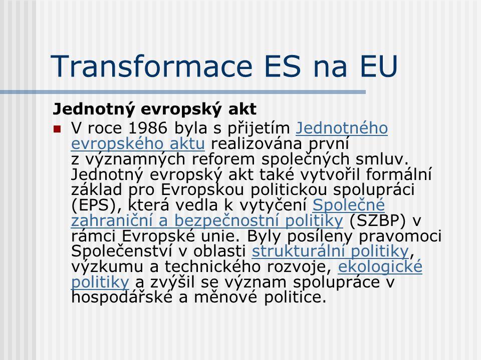 Transformace ES na EU Jednotný evropský akt
