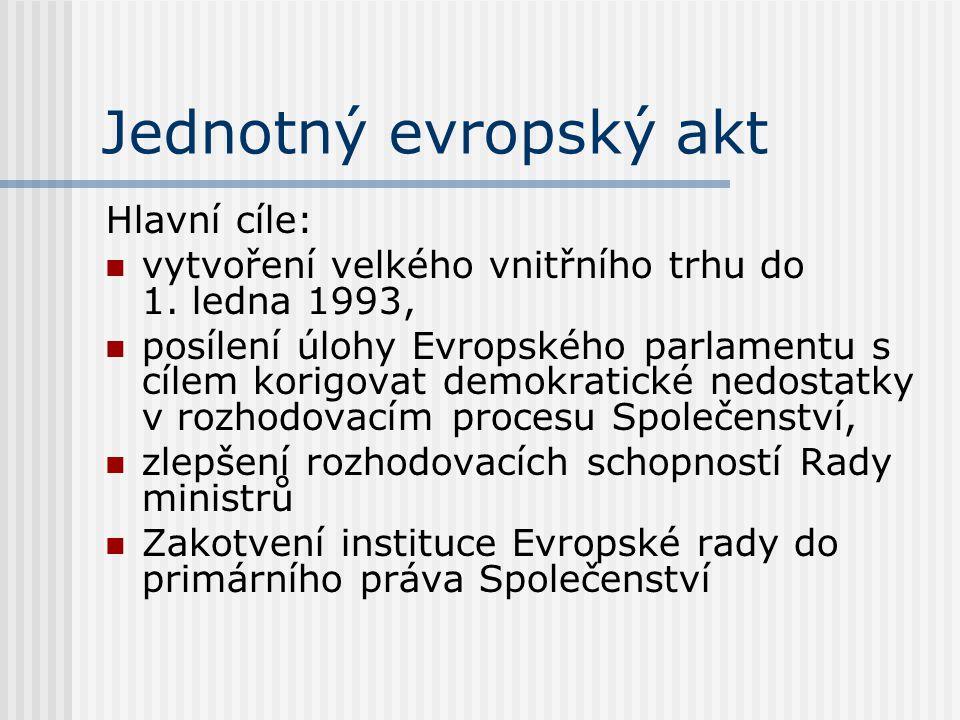 Jednotný evropský akt Hlavní cíle: