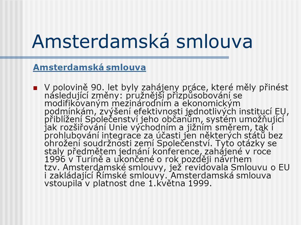 Amsterdamská smlouva Amsterdamská smlouva
