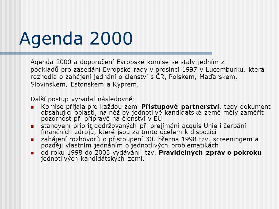 Agenda 2000 Agenda 2000 a doporučení Evropské komise se staly jedním z