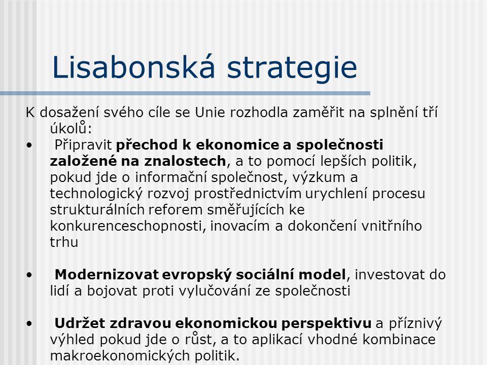 Lisabonská strategie K dosažení svého cíle se Unie rozhodla zaměřit na splnění tří úkolů: