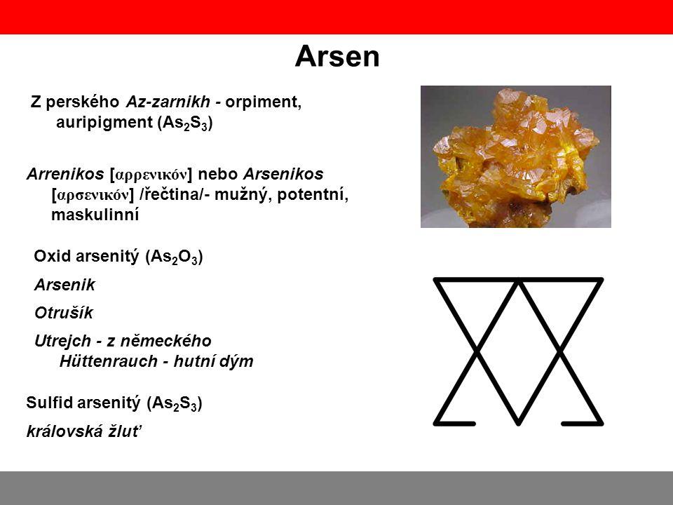 Arsen Z perského Az-zarnikh - orpiment, auripigment (As2S3)